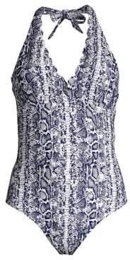 Heidi Klein Kenya Scallop Python Print Halter One-Piece Swimsuit