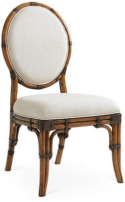 Tommy Bahama Gulfstream Oval Back Chair - Ivory/Gold