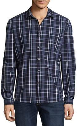 Claiborne Long Sleeve Grid Button-Front Shirt