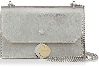 Jimmy Choo FINLEY Vintage Silver Etched Metallic Leather Cross Body Mini Bag