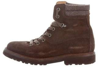 Brunello Cucinelli Suede Lace-Up Ankle Boots