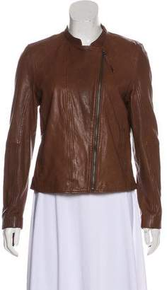 Ecru Collarless Leather Jacket
