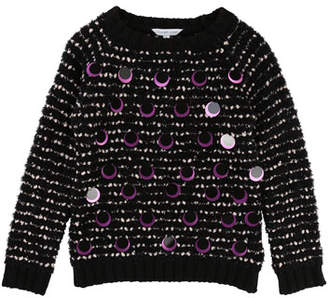 Little Marc Jacobs Long-Sleeve Striped Sweater w/ Large Sequins, Size 4-5