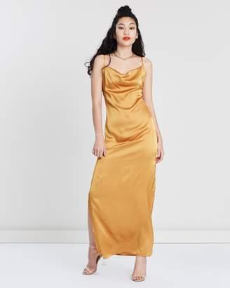 Missguided Satin Cowl Neck Side Split Midi Dress