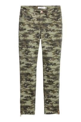 H&M Patterned Slim-fit Pants - Khaki green/patterned - Women