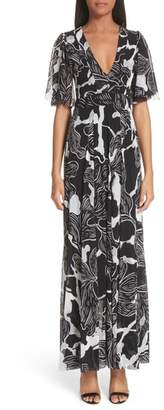 Fuzzi Deco Floral Print Tulle Flutter Sleeve Maxi Dress