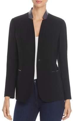 T Tahari Bria Faux-Leather Collar Blazer