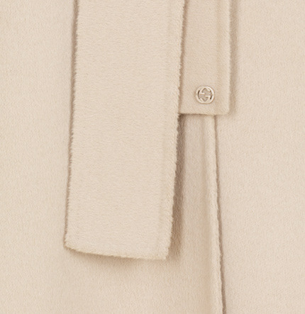 Gucci Ivory Soft Wool Hooded Deconstructed Coat