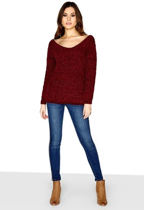 Girls On Film Outlet Berry Knot Back Jumper