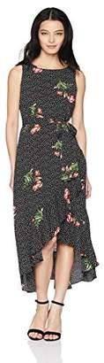 Sandra Darren Women's Petite 1 PC Sleeveless Solid/Floral Chiffon Uneven Hem Dress