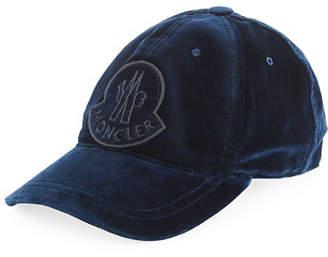Moncler Velvet Baseball Cap w/ Logo Patch