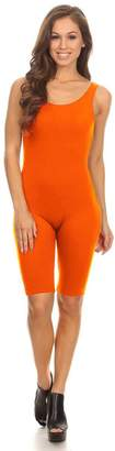 Stretch Cotton Bodysuit Women Sleeveless Stretch Skinny Solid Knee Length Sport Unitard Bodysuits Active