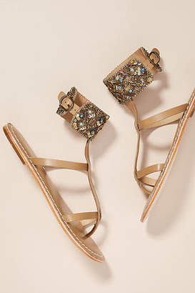 Anthropologie Beaded Ankle Strap Sandals