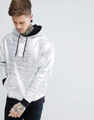 Asos Design Oversized Metallic Hoodie