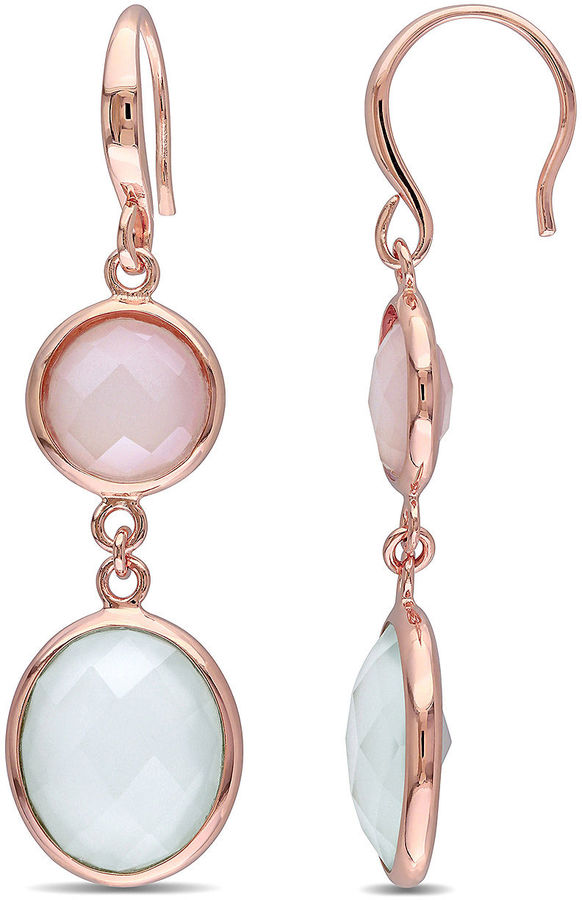 FINE JEWELRY Genuine Green and Pink Chalcedony Rose Gold Over Silver Double-Drop Earrings