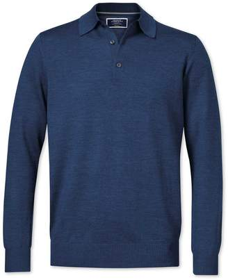 Charles Tyrwhitt Mid Blue Merino Wool Polo Neck Sweater Size Medium