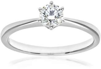 N. Naava EGL Women's 18 ct Yellow Gold 0.33 ct Certified Diamond Solitaire Engagement Ring, Size N, ESI2
