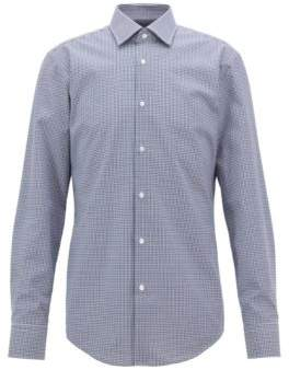 BOSS Hugo Checkered slim-fit shirt in easy-iron cotton 15 Dark Blue
