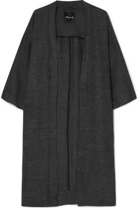 Madewell Checked Linen-blend Kimono - Black