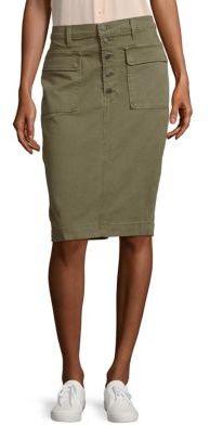 Ani Utility Button-Up Denim Skirt