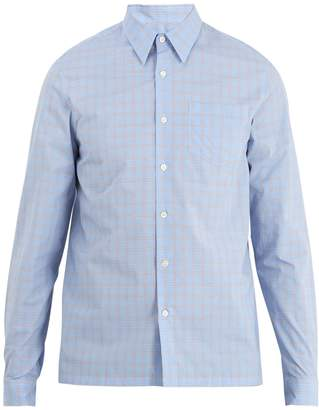 Prada Point-collar checked cotton shirt