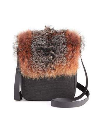 Brunello Cucinelli Fur and Monili Crossbody Messenger Bag