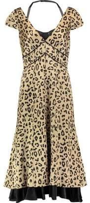 Cinq à Sept Cypress Leopard-Print Silk-Satin Midi Dress