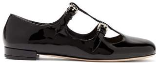 Miu Miu Double Buckle Patent Leather Flats - Womens - Black