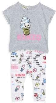 Kenzo Baby's Two-Piece Tee& Printed Food Leggings Set