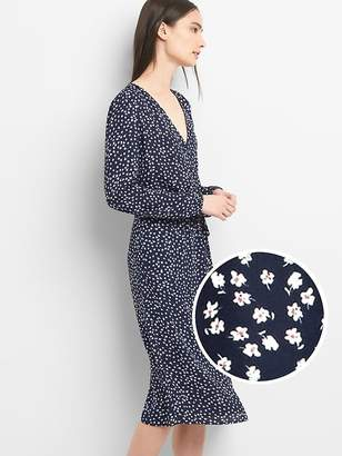 Gap Long Sleeve Floral Midi Dress