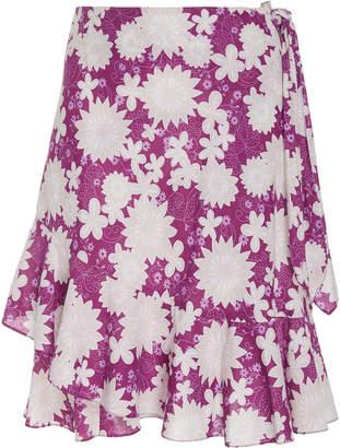 Miguelina Tatyana Tiered Floral-Print Mini Skirt