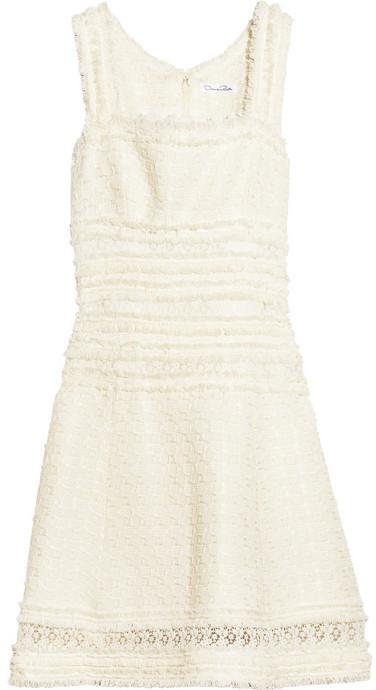 Oscar de la Renta Basketweave cotton-blend dress