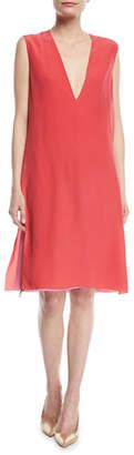 Agnona Sleeveless Deep-V Silk Crepe de Chine Double-Layer Dress