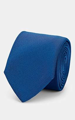 Barneys New York Men's Silk-Cotton Faille Necktie - Blue