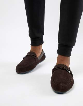 Ted Baker Valcent moccasin slippers in brown suede