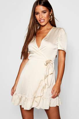 boohoo Petite Satin Wrap Over Frill Mini Dress