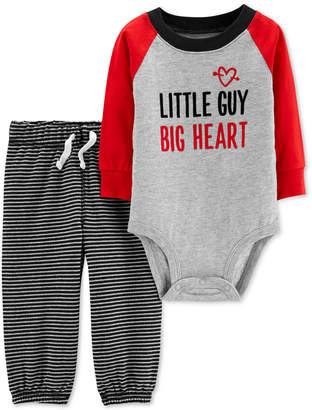 Carter's Baby Boys 2-Pc. Little Guy Cotton Body Suit & Striped Pants Set
