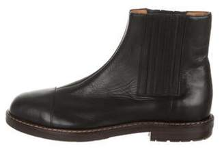 Marni Leather Cap-Toe Ankle Boots Black Leather Cap-Toe Ankle Boots