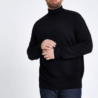 6f2e2156c River Island Mens Big and Tall Black slim fit roll neck jumper
