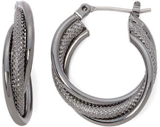 Liz Claiborne Hematite Twist Hoop Earrings