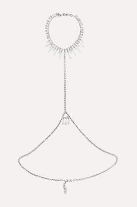 Alessandra Rich Silver-tone, Crystal And Faux Pearl Body Chain