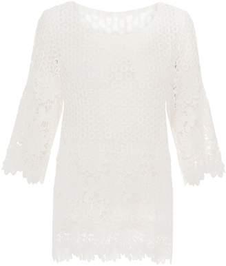 Quiz Cream Crochet 34 Sleeve Top