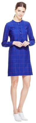 Lela Rose Stretch Plaid Button Front Tunic
