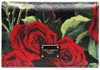 Dolce & Gabbana Multicolour rose print leather wallet
