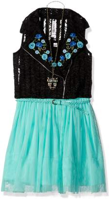 Beautees Big Girls' 2 Piece Sleeveless Dress with Embroidered Moto Vest