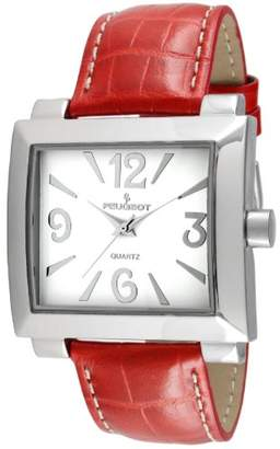 Peugeot Women's Silver Leather Easy Read Big Face Watches 706RD