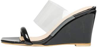 ce6b4ff5f1999 clear AnnaKastle Womens Transparent Strap Wedge Heel Mule Sandals