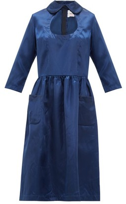 Comme des Garcons Cut Out Peter Pan Collar Satin Dress - Womens - Navy
