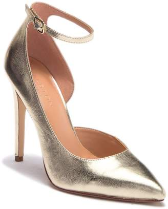 Halston Margo Half d'Orsay Leather Stiletto Pump