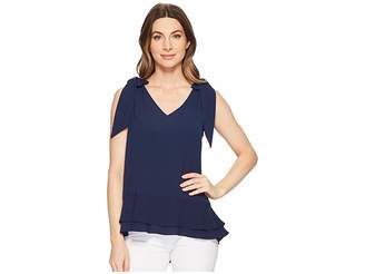 CeCe Short Sleeve V-Neck Layered Blouse Women's Blouse